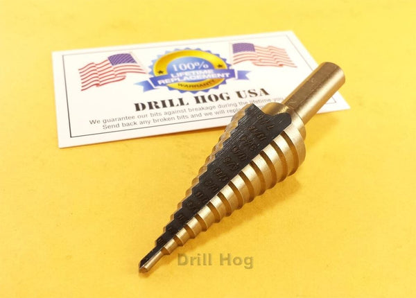 "Drill Hog USA 1/8""-7/8"" Step Drill Bit Reamer UNIBIT M7 Lifetime Warranty"