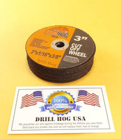 "Drill Hog USA 3"" Cut Off Wheels 3"" Cutting Disc Blade 3 Air Cut Off Tool 100 Pcs"