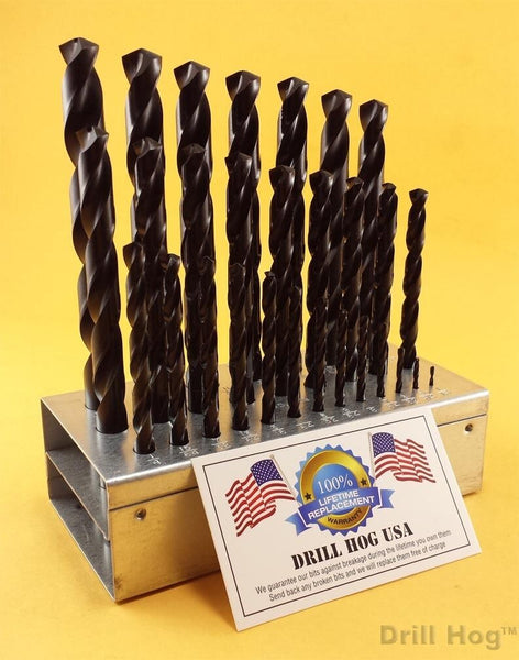 "29 Pc Drill Bit Set 1/16"" to 1/2"" Pig Steel Drill Hog Lifetime Warranty USA MADE"