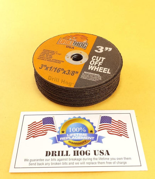 "Drill Hog USA 3"" Cut Off Wheels 3"" Cutting Disc Blade 3 Air Cut Off Tool 10 Pcs"