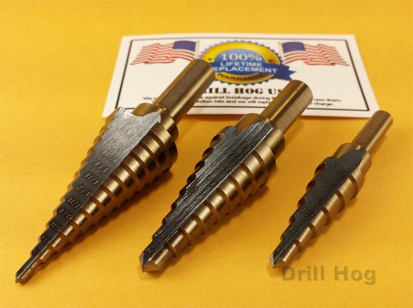 3 Pc Step Drill Bit Set REAMER Step Bit Set UNIBIT Lifetime Warranty Drill Hog