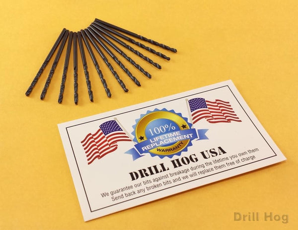 Drill Hog USA #28 Drill Bit Number Bit #28 MOLY M7 Lifetime Warranty 12 Pack
