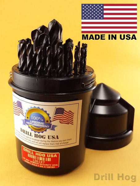 "Drill Hog 29 Pc Drill Bit Set 1/16"" to 1/2"" Pig Steel Lifetime Warranty USA MADE"