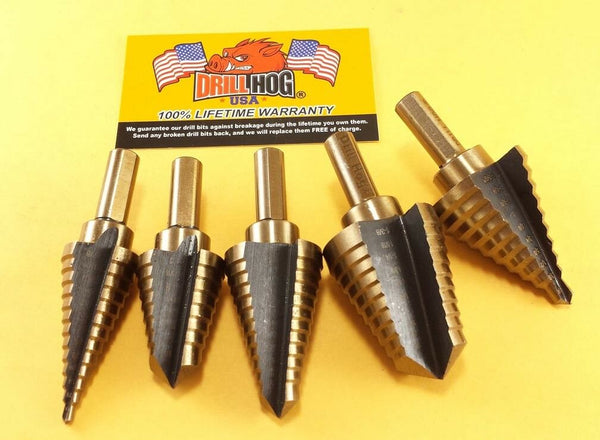 Jumbo Step Drill Step Bit Set Molybdenum M7 UNIBIT Drill Hog Lifetime Warranty