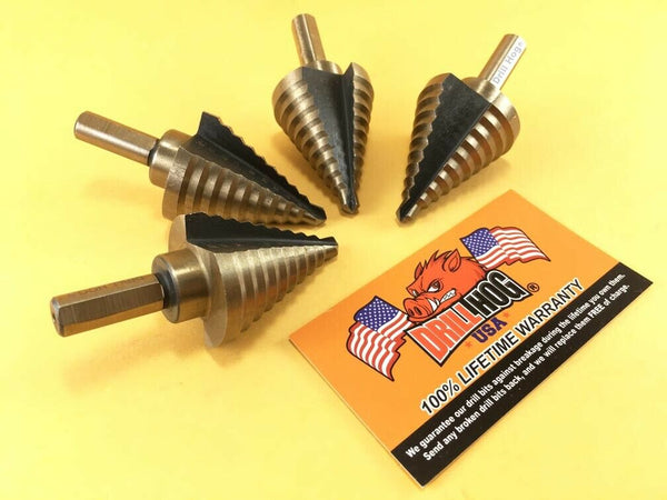 "Drill Hog Step Drill Bit 1/4""-1-3/8"" Molybdenum M7 UNIBIT 4pcs Lifetime Warranty"
