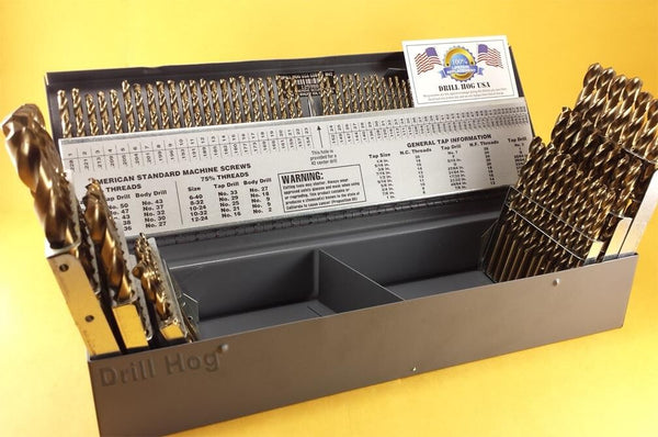 Drill Hog USA 116 Pc Drill Bit Set Letter Number COBALT M42 Lifetime Warranty