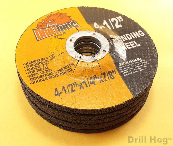 "4-1/2"" x 7/8 x 1/4 Grinding DIsc 4.5"" Grinding Wheel Metal Drill Hog USA 5 Pack"