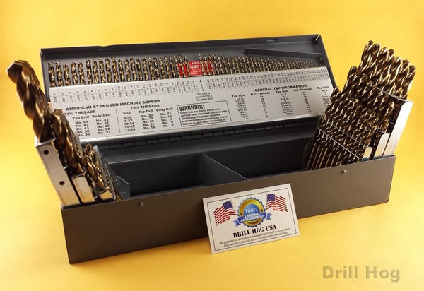 115 Pc Cobalt M42 Drill Bit Index Letter Number Lifetime Warranty Drill Hog USA