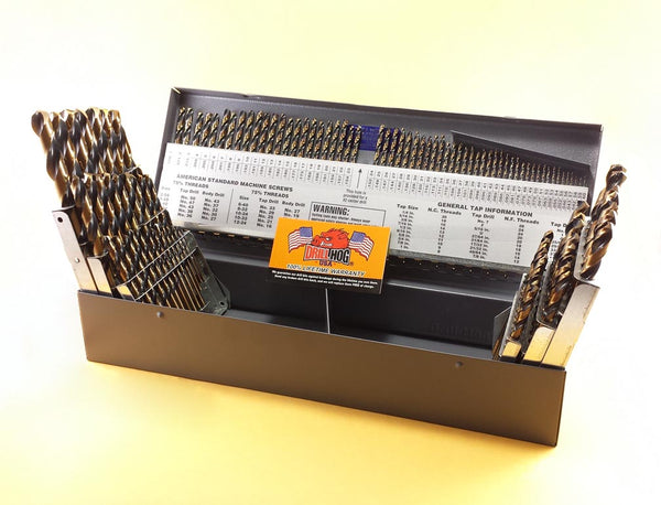 Drill Hog® 115 Pc Drill Bit Set Letter Number Molybdenum M7 Lifetime Warranty
