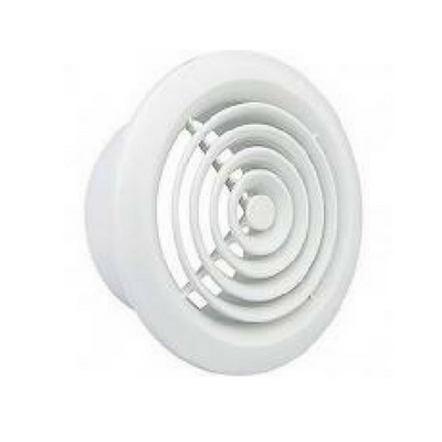 "100mm (4"") PVC Round Grille White"