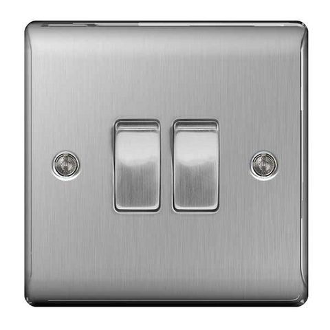 BG Nexus Metal 2 Gang 2 Way Light Switch