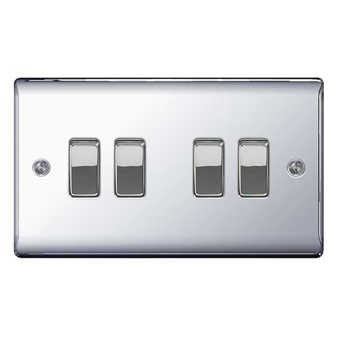 BG Nexus Metal 4 Gang 2 Way Light Switch