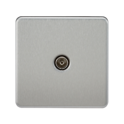 Knightsbridge Screwless 1 Gang TV Outlet (Non-Isolated) - Brushed Chrome