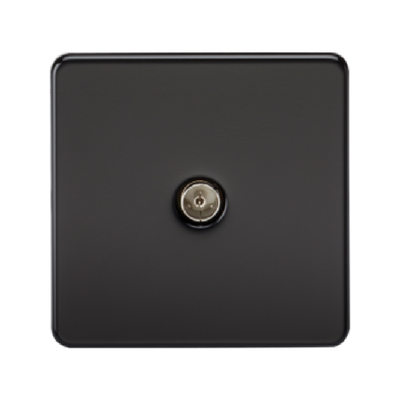 Knightsbridge Screwless 1 Gang TV Outlet (Non-Isolated) - Matt Black