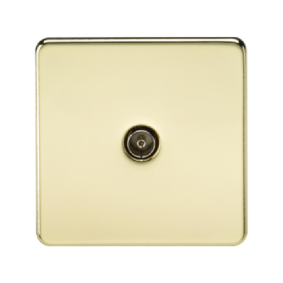 Knightsbridge Screwless 1 Gang TV Outlet (Non-Isolated) - Polished Brass