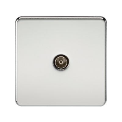 Knightsbridge Screwless 1 Gang TV Outlet (Non-Isolated) - Polished Chrome
