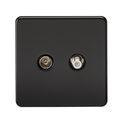 Knightsbridge Screwless Satellite TV And TV Outlet (Isolated) - Matt Black