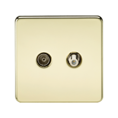 Knightsbridge Screwless Satellite TV And TV Outlet (Isolated) - Polished Brass