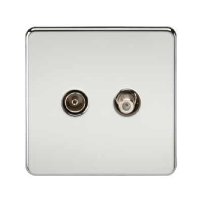 Knightsbridge Screwless Satellite TV And TV Outlet (Isolated) - Polished Chrome