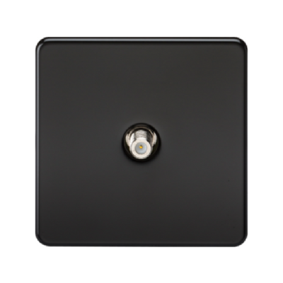 Knightsbridge Screwless 1 Gang Satellite TV Outlet (Non-Isolated) - Matt Black