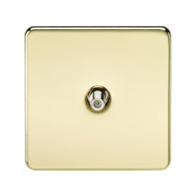 Knightsbridge Screwless 1 Gang Satellite TV Outlet (Non-Isolated) - Polished Brass