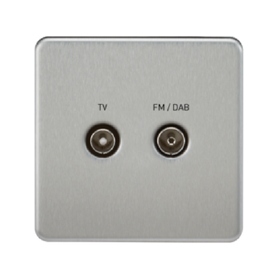 Knightsbridge Screwless TV Outlet And FM DAB Outlet (Diplex) - Brushed Chrome
