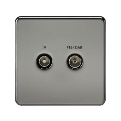 Knightsbridge Screwless TV Outlet And FM DAB Outlet (Diplex) - Black Nickel