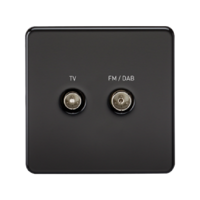 Knightsbridge Screwless TV Outlet And FM DAB Outlet (Diplex) - Matt Black