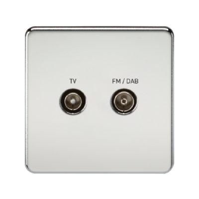Knightsbridge Screwless TV Outlet And FM DAB Outlet (Diplex) - Polished Chrome