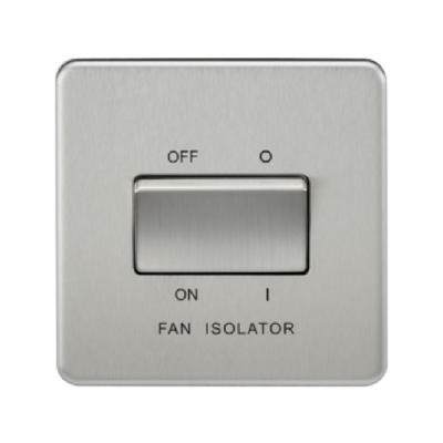 Knightsbridge Screwless 10A 3 Pole Fan Isolator Switch - Brushed Chrome