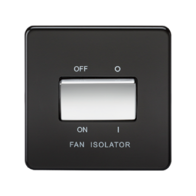 Knightsbridge Screwless 10A 3 Pole Fan Isolator Switch - Matt Black