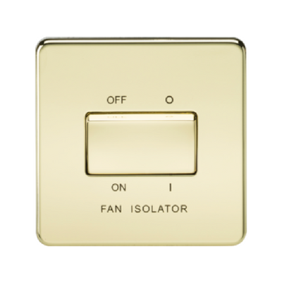 Knightsbridge Screwless 10A 3 Pole Fan Isolator Switch - Polished Brass