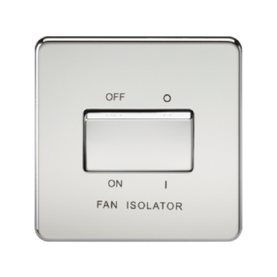Knightsbridge Screwless 10A 3 Pole Fan Isolator Switch - Polished Chrome