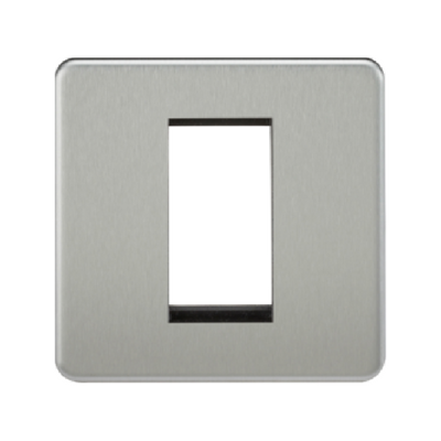 Knightsbridge Screwless 1 Gang 1 Module Europlate - Brushed Chrome