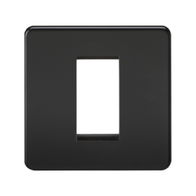 Knightsbridge Screwless 1 Gang 1 Module Europlate - Matt Black