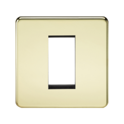 Knightsbridge Screwless 1 Gang 1 Module Europlate - Polished Brass