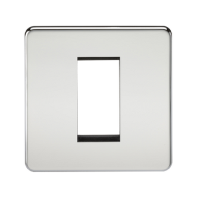 Knightsbridge Screwless 1 Gang 1 Module Europlate - Polished Chrome
