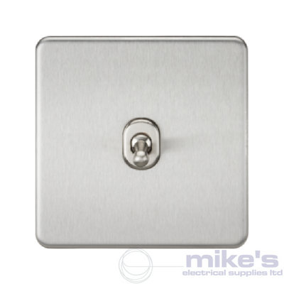 Knightsbridge Screwless 10A 1 Gang Intermediate Toggle Switch - Brushed Chrome