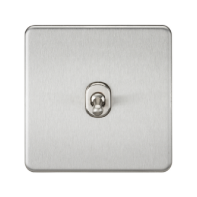 Knightsbridge Screwless 10A 1 Gang 2 Way Toggle Switch - Brushed Chrome