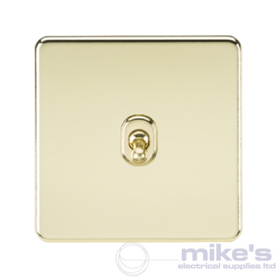 Knightsbridge Screwless 10A 1 Gang Intermediate Toggle Switch - Polished Brass