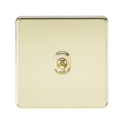 Knightsbridge Screwless 10A 1 Gang 2 Way Toggle Switch - Polished Brass
