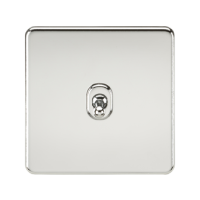 Knightsbridge Screwless 10A 1 Gang 2 Way Toggle Switch - Polished Chrome