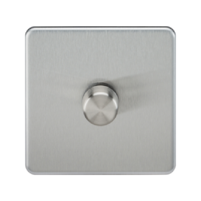 Knightsbridge Screwless 40-400W 1 Gang 2 Way Dimmer Switch - Brushed Chrome