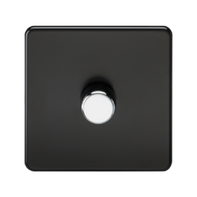 Knightsbridge Screwless 40-400W 1 Gang 2 Way Dimmer Switch - Matt Black
