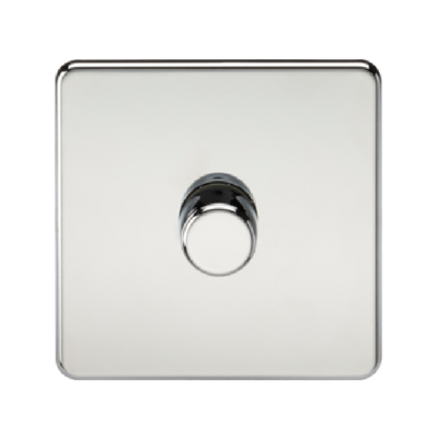 Knightsbridge Screwless 40-400W 1 Gang 2 Way Dimmer Switch - Polished Chrome