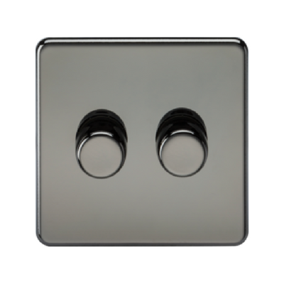 Knightsbridge Screwless 40-400W 2 Gang 2 Way Dimmer Switch - Black Nickel