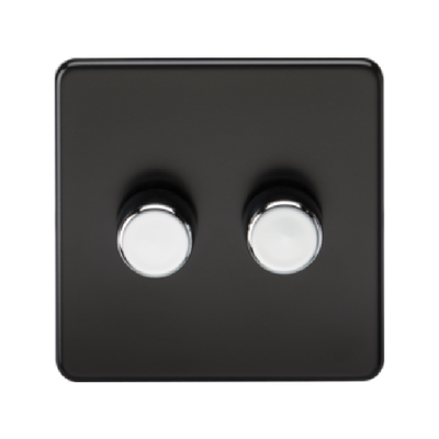 Knightsbridge Screwless 40-400W 2 Gang 2 Way Dimmer Switch - Matt Black