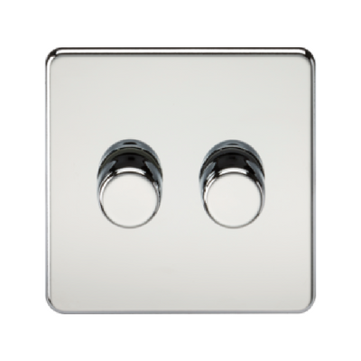 Knightsbridge Screwless 40-400W 2 Gang 2 Way Dimmer Switch - Polished Chrome