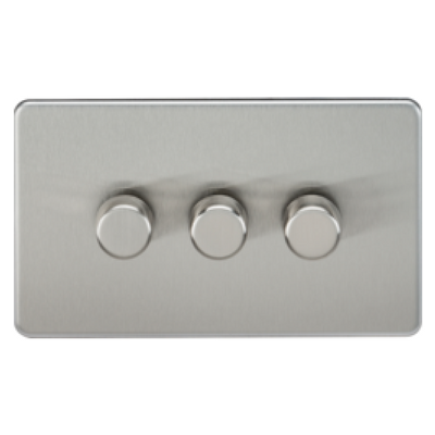 Knightsbridge Screwless 40-400W 3 Gang 2 Way Dimmer Switch - Brushed Chrome