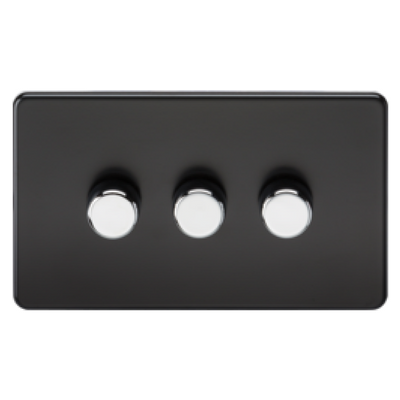 Knightsbridge Screwless 40-400W 3 Gang 2 Way Dimmer Switch - Matt Black